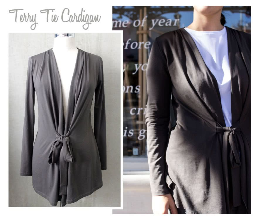 Terry Tie Cardi Sewing Pattern By Style Arc - Knit tie front cardigan with tucked shoulder detail