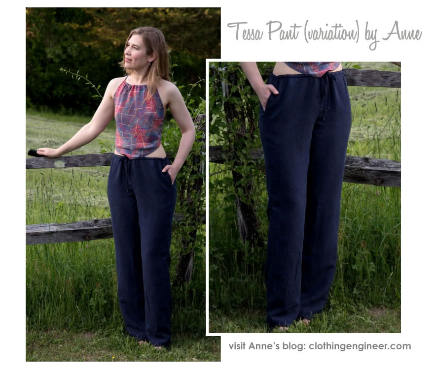 Tessa Pant Sewing Pattern By Anne And Style Arc - Not too slim and not too wide; just perfect pull-on pant