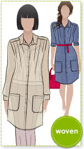 The Artist Tunic Sewing Pattern By Style Arc - Slim line tunic with epaulettes and patch pocket