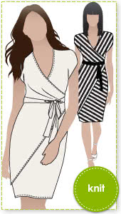Tia Knit Wrap Dress Sewing Pattern By Style Arc - Slip on wrap dress with a difference