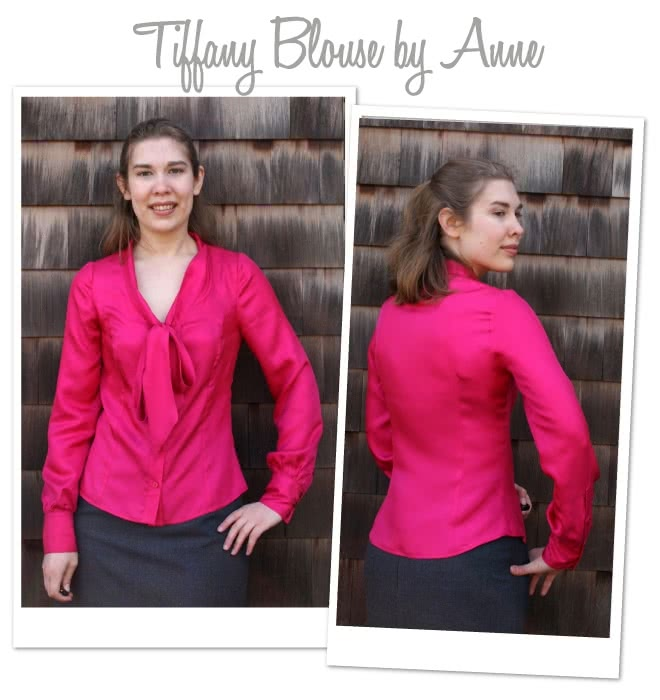 Tiffany Blouse Sewing Pattern By Anne And Style Arc - Princess line, long sleeved blouse with a tie neck