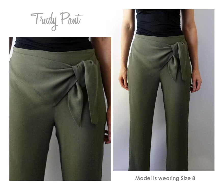 Trudy Pant Sewing Pattern By Style Arc - Flattering on trend pull-on tie front pant
