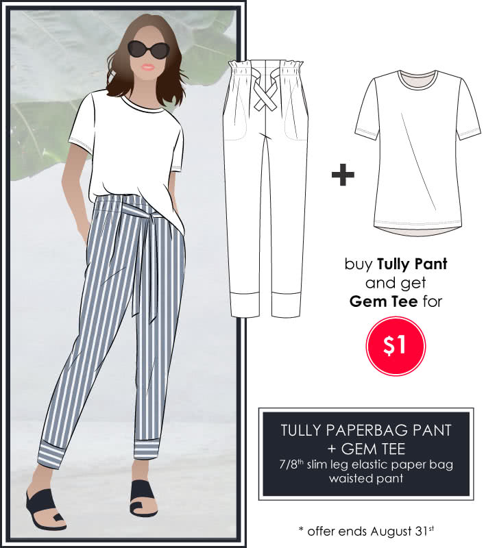 Tully Pant + Gem Tee Sewing Pattern Bundle By Style Arc - Discounted Tully Pant and Gem Tee pattern bundle.