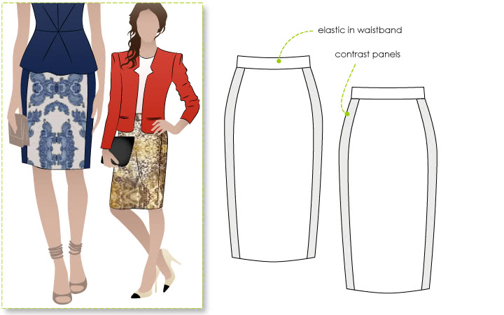 Ursula Ponte Skirt Sewing Pattern By Style Arc - Ponte skirt with elastic waist & side panels