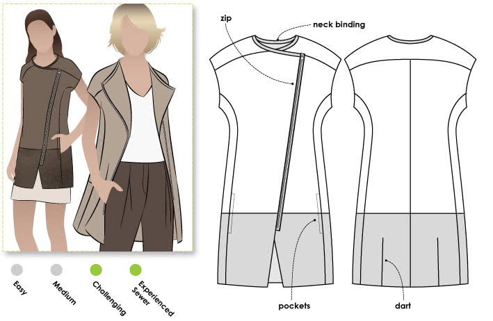 Veronica Vest Sewing Pattern By Style Arc - Fabulous designer sleeveless jacket with asymmetrical zip
