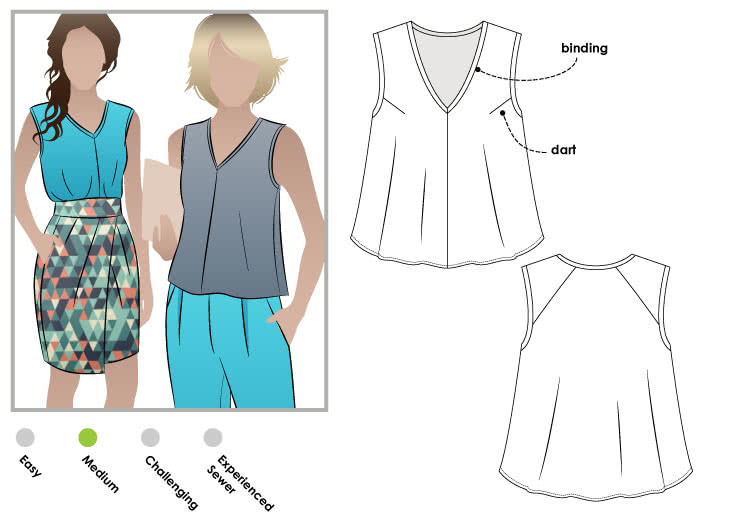 "Vicki Top Sewing Pattern By Style Arc - Cute swing top with a ""V"" neck and interesting shoulder design"