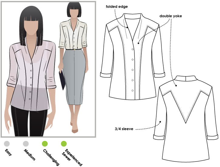 Victoria Blouse Sewing Pattern By Style Arc - Fabulous blouse with interesting design lines