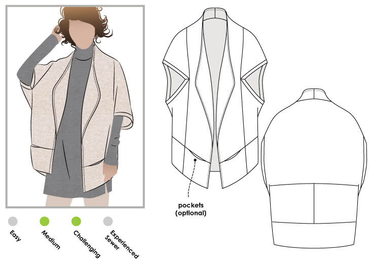 Violet Knit Jacket Sewing Pattern By Style Arc - Amazing knit jacket with clever design lines