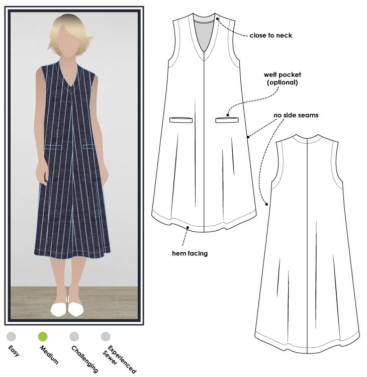 Vivienne Designer Frock Sewing Pattern By Style Arc - Sophisticated styling with a great neckline and welted pockets. Suitable for all seasons.
