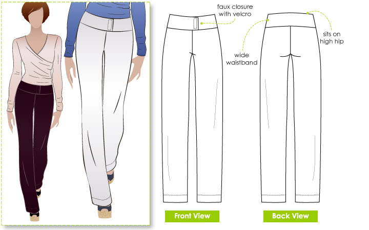 Wendy Pant Sewing Pattern By Style Arc - Pull-on pants with wide waistband