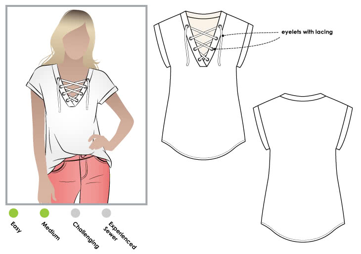 Winona Knit Top Sewing Pattern By Style Arc - Great knit top with lace-up feature