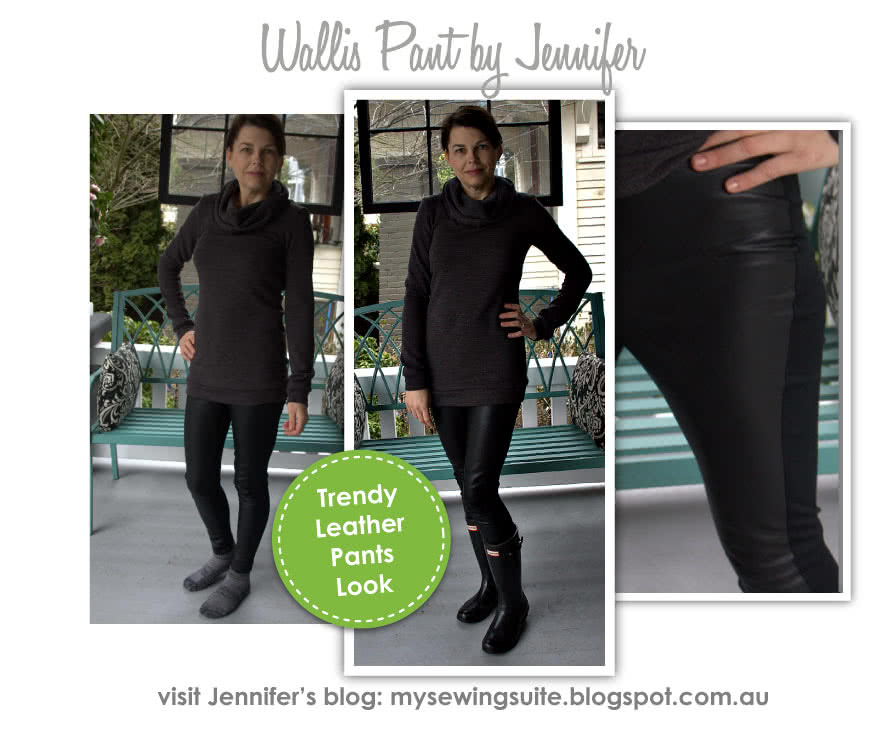 Wallis Pant Sewing Pattern By Jennifer And Style Arc - Pull-on Ponte pant with front design line