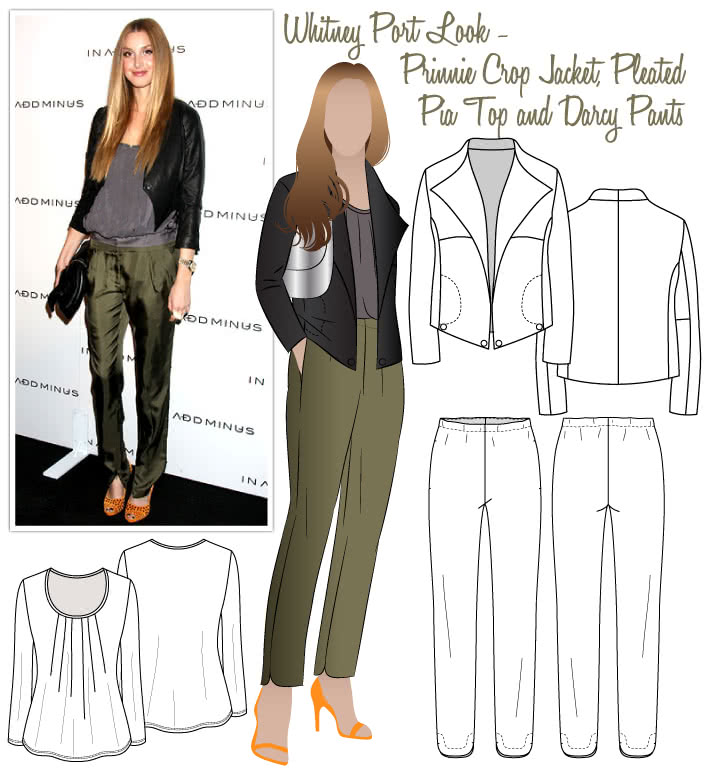 Whitney Port - Day To Night Sewing Pattern Bundle By Style Arc - Whitney's Day-to-Night Look - Prinnie Jacket, Pleated Pia Top & Darcy Pants