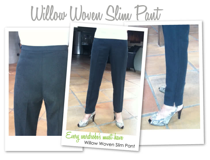 Willow Pant Sewing Pattern By Style Arc - Woven cigarette style pant with side zip
