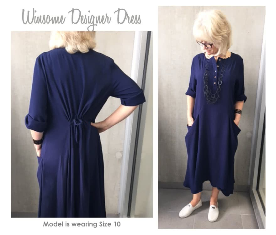 Winsome Designer Dress Sewing Pattern By Style Arc - Designer dress with a flattering drawstring back waistline and draped pockets.