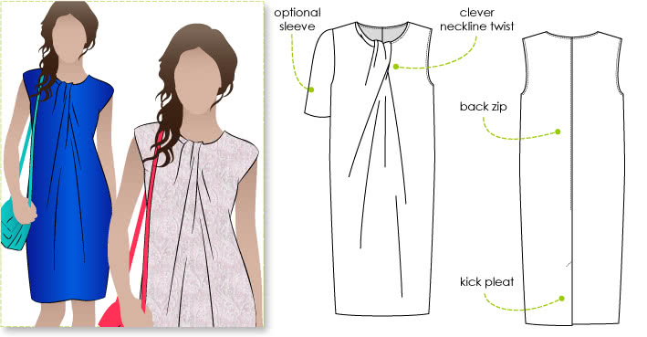 Zara Dress Sewing Pattern By Style Arc - Great basic dress shape with pleated twist neckline