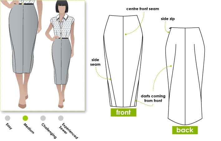 Zoe Pencil Skirt Sewing Pattern By Style Arc - Pencil skirt with a difference
