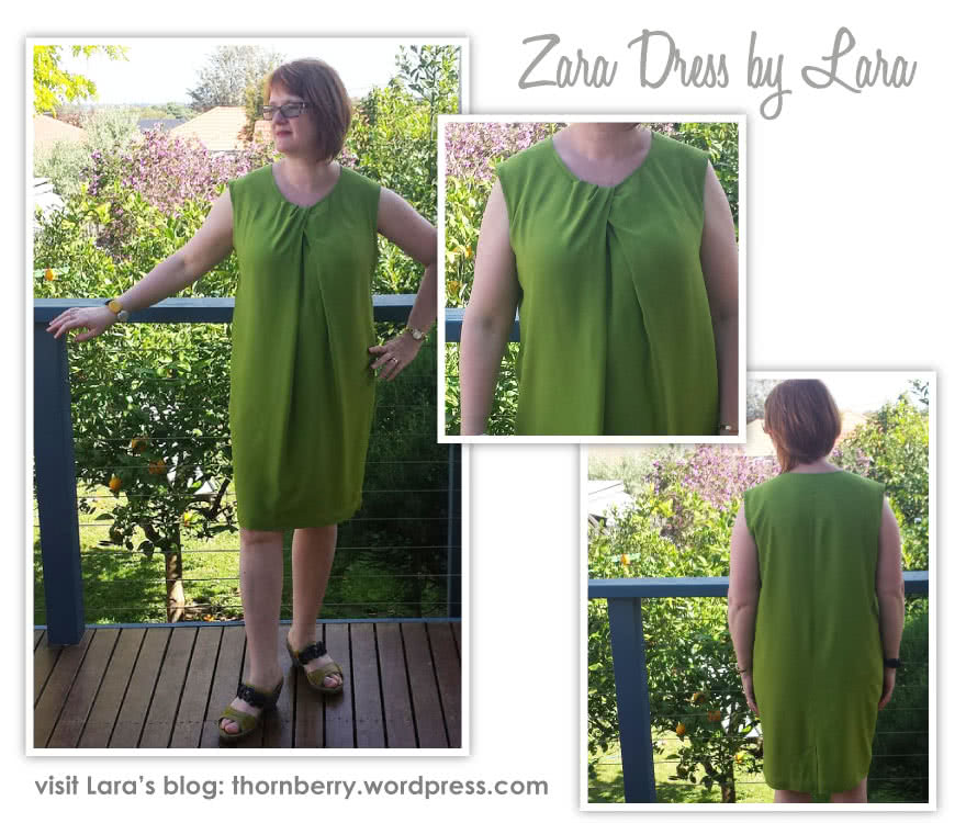 Zara Dress Sewing Pattern By Lara And Style Arc - Great basic dress shape with pleated twist neckline