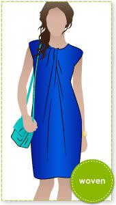 Zara Dress Sewing Pattern By Style Arc - Great basic dress shape with pleated twist neckline
