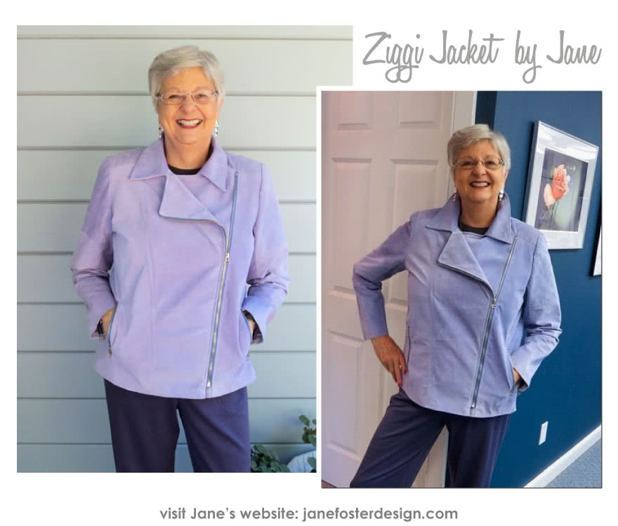 Ziggi Jacket Sewing Pattern By Jane And Style Arc - Fabulous fully lined biker jacket with zip features & interesting panelling