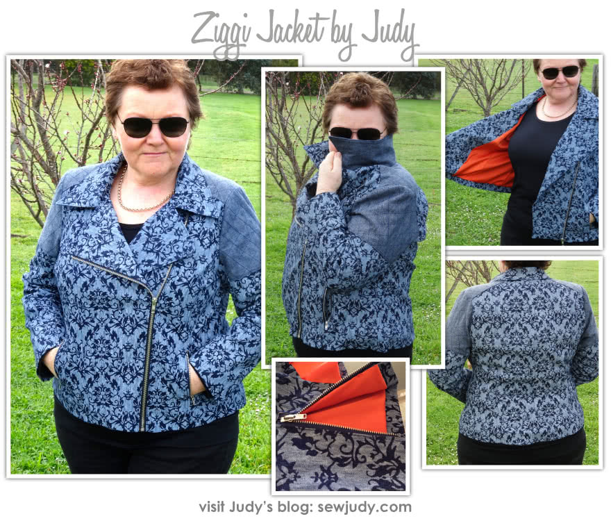 Ziggi Jacket Sewing Pattern By Judy And Style Arc - Fabulous fully lined biker jacket with zip features & interesting panelling