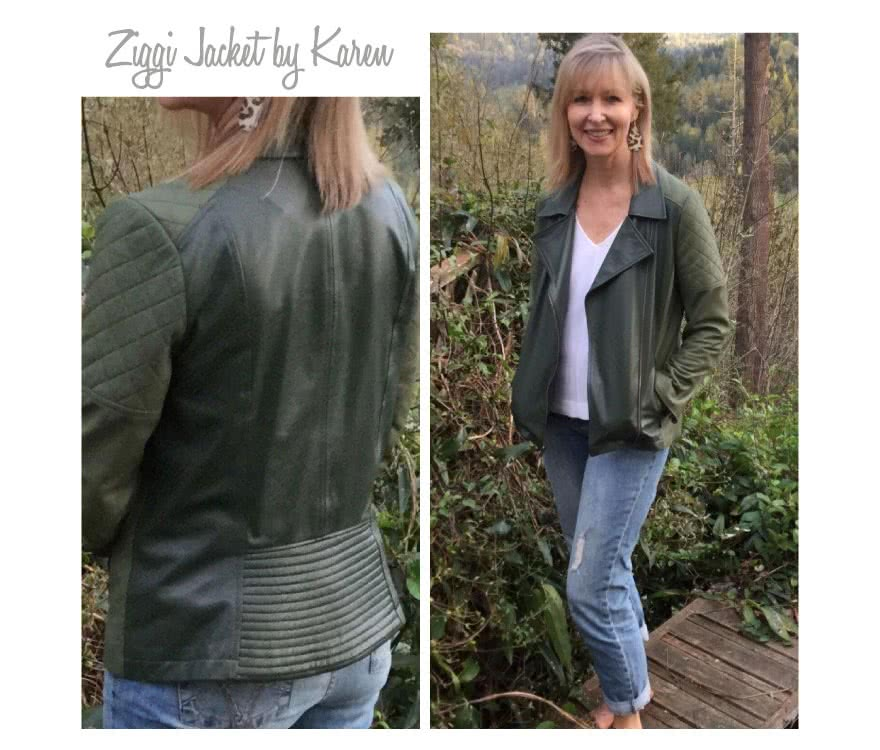 Ziggi Jacket Sewing Pattern By Kare And Style Arc - Fabulous fully lined biker jacket with zip features & interesting panelling