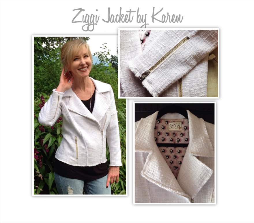 Ziggi Jacket Sewing Pattern By Karen And Style Arc - Fabulous fully lined biker jacket with zip features & interesting panelling
