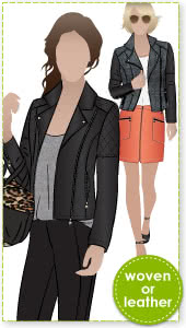 Ziggi Jacket Sewing Pattern By Style Arc - Fabulous fully lined biker jacket with zip features & interesting panelling