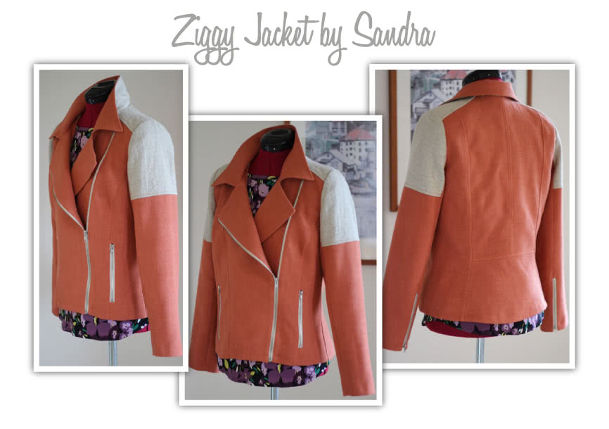 Ziggi Jacket Sewing Pattern By Sandra And Style Arc - Fabulous fully lined biker jacket with zip features & interesting panelling