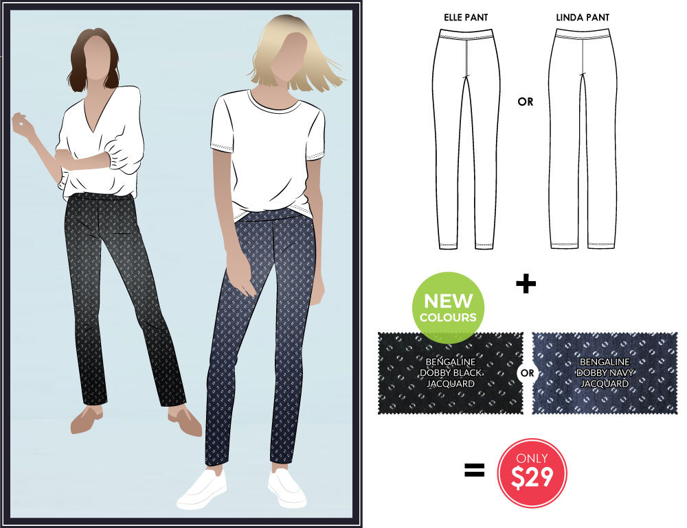 Linda and Elle Stretch Pant Sewing Pattern and Fabric Bundles by Style Arc