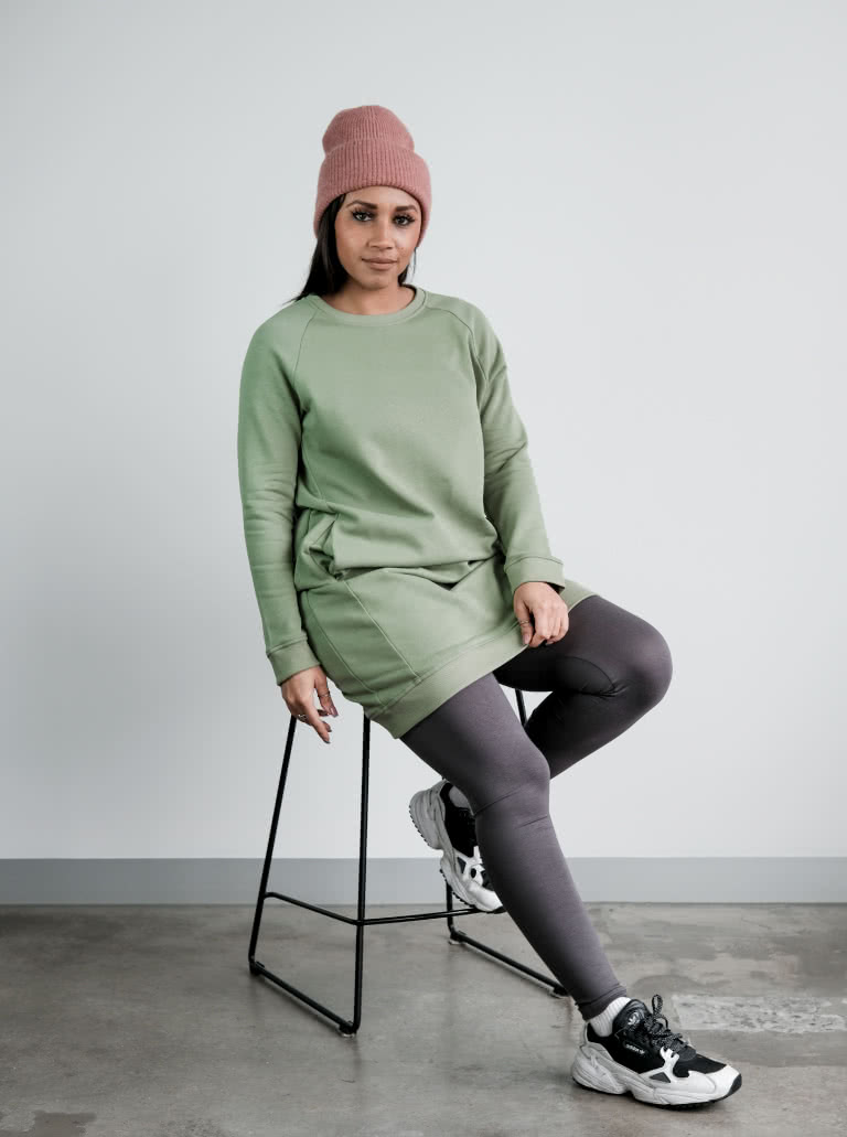 Our Anderson Knit Dress in khaki - model wearing a size 10