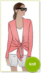 Abby Cardi Sewing Pattern By Style Arc - Knit tie front versatile cardi with optional sleeve lengths