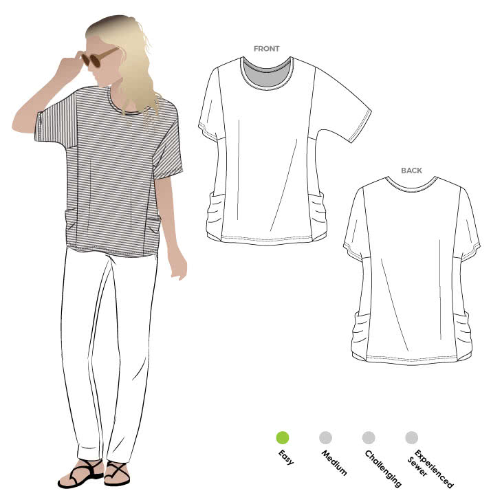 Ada Knit Top Sewing Pattern By Style Arc - Interesting boxy knit top with side pockets