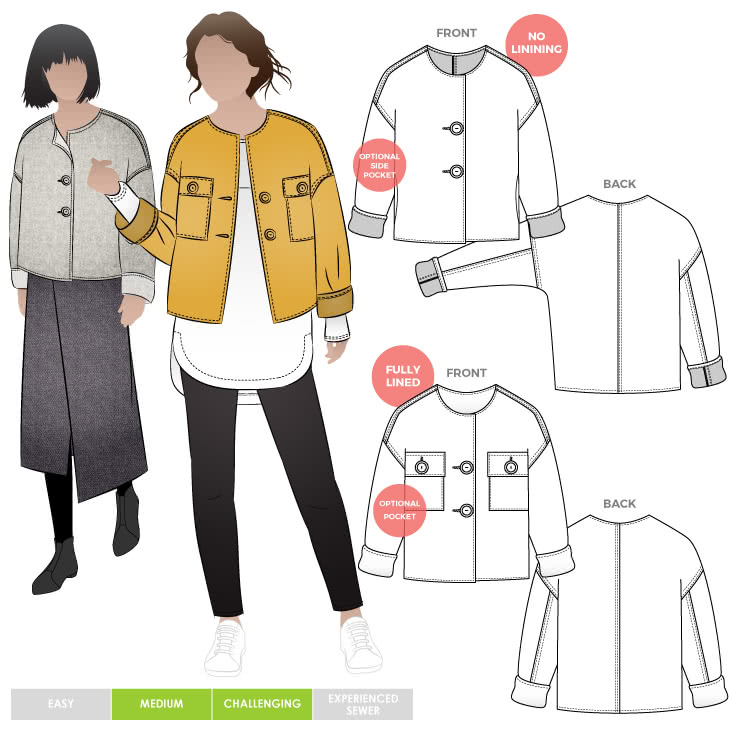 Adelaide Woven Jacket By Style Arc - Cropped square-shaped jacket sewing pattern with three different versions