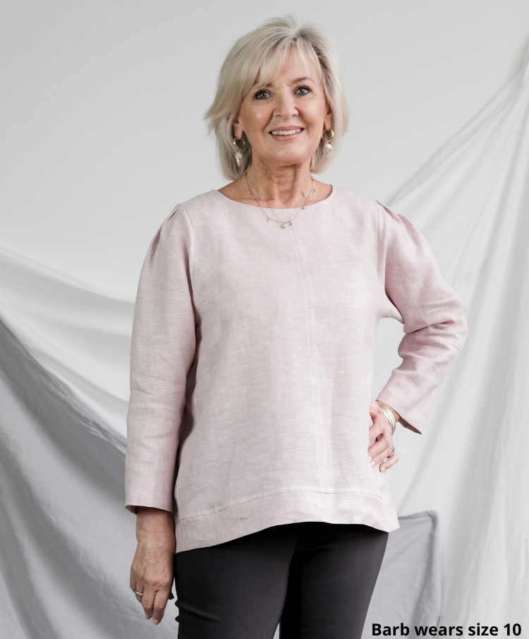 Barb wearing Florence woven top in pink linen, size 10