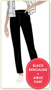 Airlie Stretch Pant and Black Bengaline Fabric Sewing Pattern Fabric Bundle By Style Arc