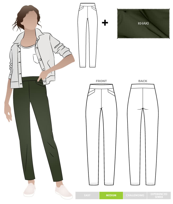 Airlie Stretch Pant and Khaki Bengaline Fabric Sewing Pattern Fabric Bundle By Style Arc