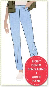 Airlie Stretch Pant and Light Denim Bengaline Fabric Sewing Pattern Fabric Bundle By Style Arc