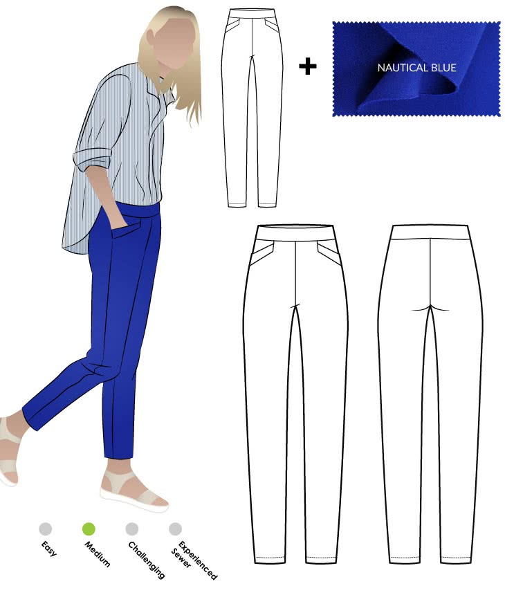Airlie Stretch Pant and Nautical Blue Bengaline Fabric Sewing Pattern Fabric Bundle By Style Arc