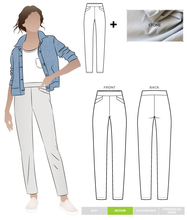 Airlie Stretch Pant and New Stone Bengaline Fabric Sewing Pattern Fabric Bundle By Style Arc