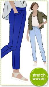 Airlie Stretch Pant Sewing Pattern By Style Arc - Slim line stretch woven pull-on pant sewing pattern with front pockets