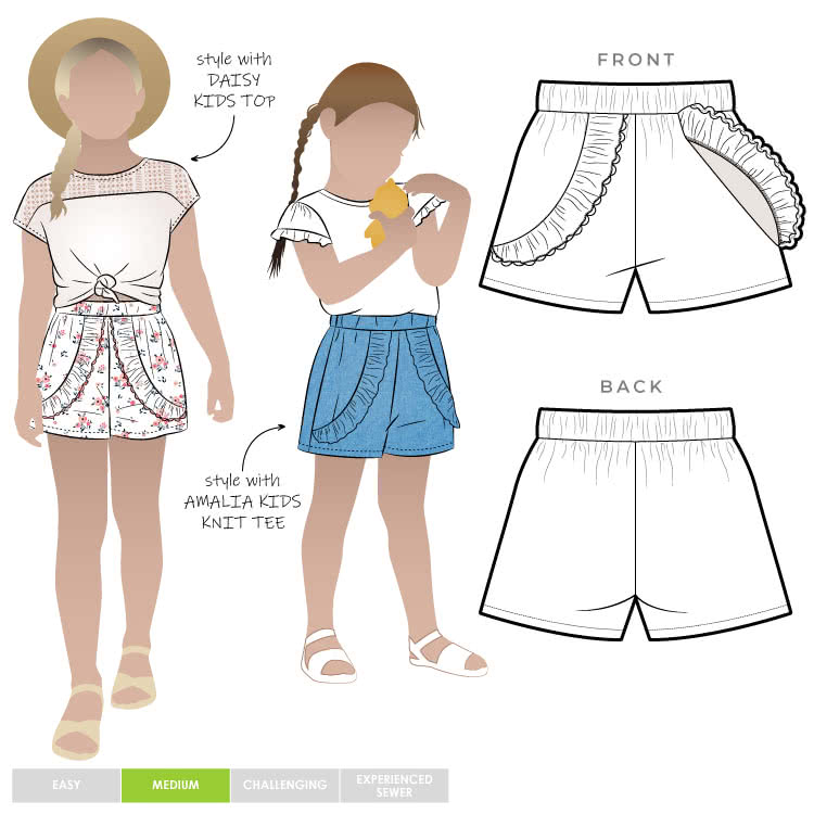 Alice Kids Short By Style Arc - Elastic waist short with optional front over lay and frill for kids 2-8
