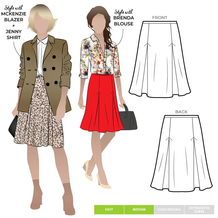 Allison Skirt Sewing Pattern By Style Arc - Knit skirt featuring 4 inverted pleats and elastic waistband