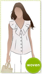 Almy Woven Top Sewing Pattern By Style Arc - Button through sleeveless top with neck flounce.
