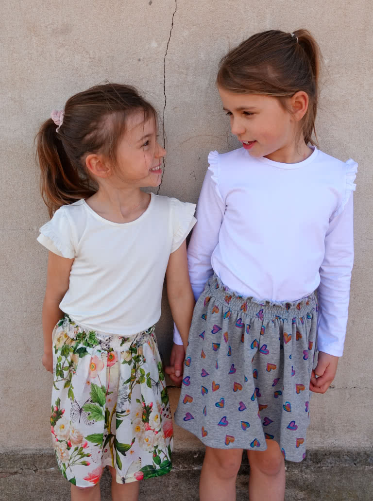Amalia Kids Knit T By Style Arc - Sweet girls T with long and short sleeve options with ruffles