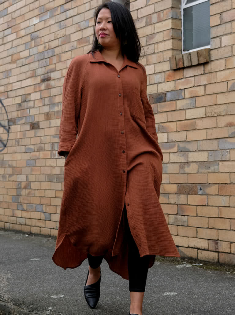 Anais Woven Dress By Style Arc - Long line shirt dress featuring long sleeves, shirt tails, collar and pockets.