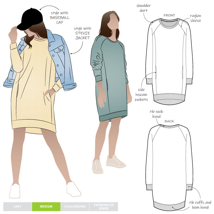 Anderson Knit Dress By Style Arc - Sports luxe Raglan sleeve windcheater style dress with rib trim.