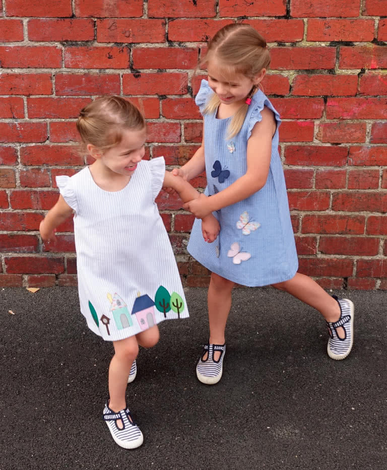 Andie Dress By Style Arc - A-line children's dress pattern with armhole frills