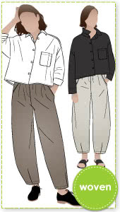 Archie and Barry Bundle By Style Arc - Boxy shaped short length shirt with shirt collar and long sleeves paired with elastic waisted pant with a slight balloon shaped darted leg.