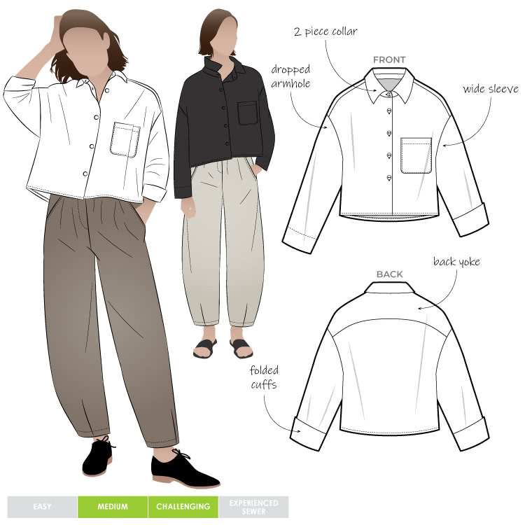 Archie Woven Shirt By Style Arc - Boxy shaped short length shirt with shirt collar and long sleeves.